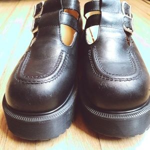 Vtg 90's Platform Mary Janes Black Leather Shoes